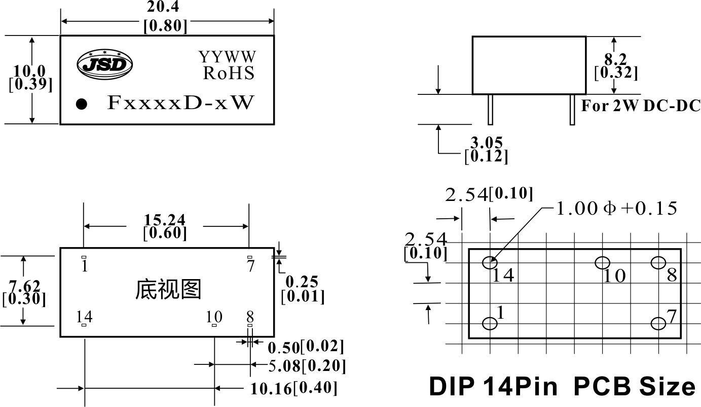3000vdc隔离定电压输入非稳压正电压输出dc-dc电源模块f系列