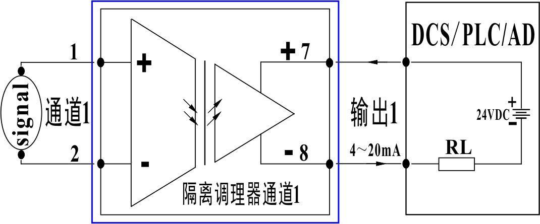 4-20ma隔离变送器接线图