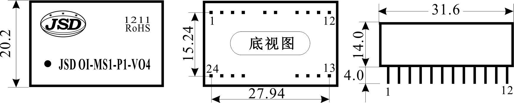 模拟量小信号隔离放大器(光耦隔离系列)封装尺寸图(dip24脚)